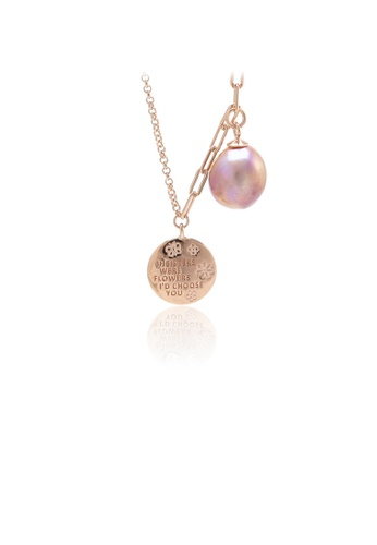 Glamorousky silver 925 Sterling Silver Plated Rose Gold Fashion Temperament Geometric Pattern Round Freshwater Pearl Pendant with Necklace 3241CAC2431672GS_1