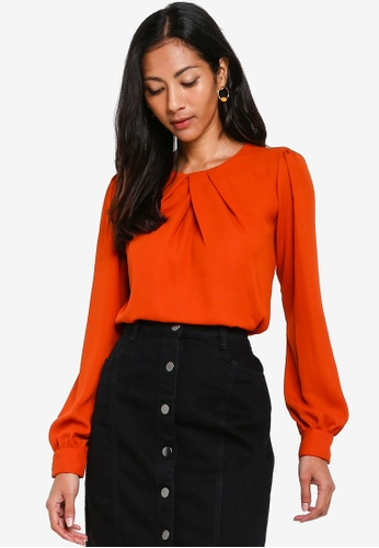 901bf1def2621 Dorothy Perkins orange Ginger Pleat Neck Long Sleeve Top FF4F7AA5E57F71GS_1