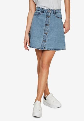 Noisy May blue Sunny Short Denim Skater Skirt 6826DAA0C16EFBGS_1