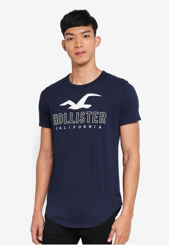 Hollister navy Brand Logo T-Shirt FFD5BAA7B6A9C5GS_1