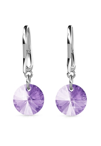Her Jewellery silver Circlet Hook Earrings (Violet) - Made with premium grade crystals from Austria HE210AC0GJSISG_1