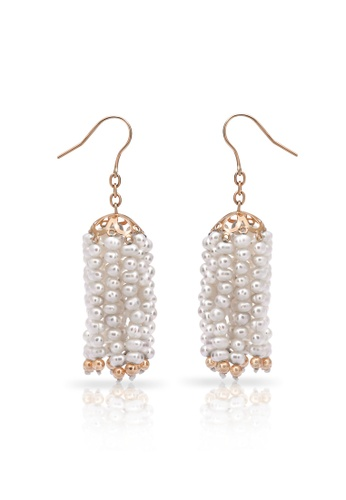 Jemocracy white and gold JEMOCRACY - Bells and Whistles - tassel earrings in pearl and 14k gold 72245ACBC087A4GS_1