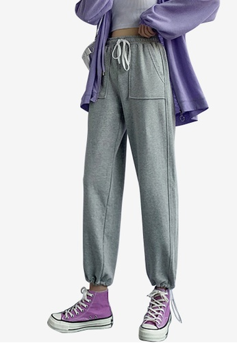 Zafiti grey Women's Basic Must-have Ankles-tied Drawstring Waist Sports Pant - Grey D6253AA814407EGS_1
