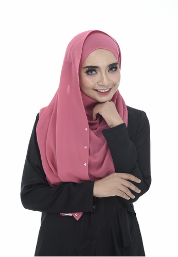 Dreamyza pink Hana Crystal Beads Long Shawl in Flamingo 23454AADFCD61FGS_1