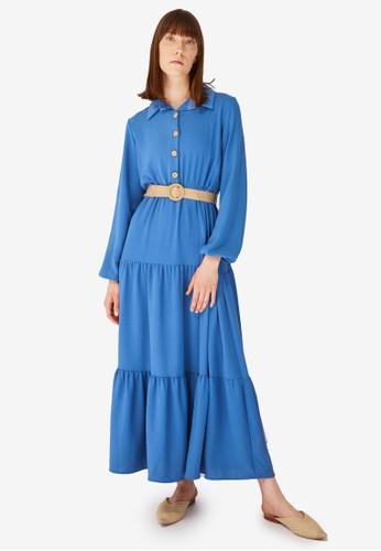 Trendyol blue Blue Tiered Maxi Shirt Dress 3CAA8AAFE5BA58GS_1