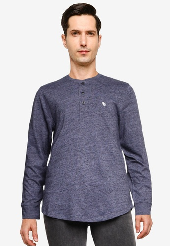 Abercrombie & Fitch grey Long Sleeve Icon Henley Tee 76A78AAD96ABC4GS_1