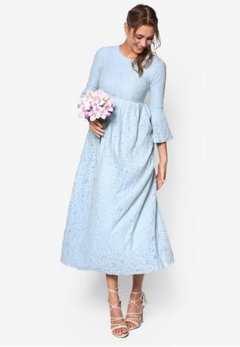 蕾絲esprit hk office七分寬袖蕾絲連身長裙, 服飾, 洋裝