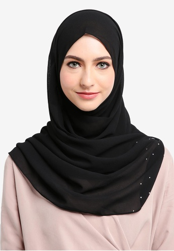 Najjah black Fancy Semi Instant Shawl 998AFAA51F83EEGS_1