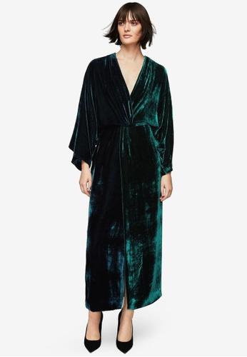 Mango blue Premium Wrap Neckline Velvet Dress MA193AA0S9MHMY_1