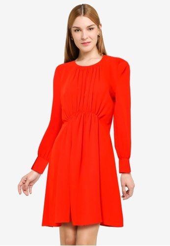 French Connection red Emmy Crepe Long Sleeve Dress E04DCAA777BE03GS_1