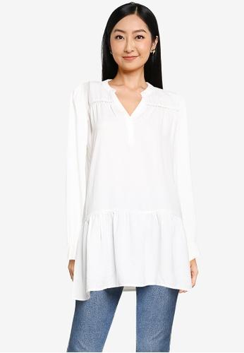 JACQUELINE DE YONG white Laura Long Sleeve Tunic Shirt 51A5CAA9DBF5CBGS_1