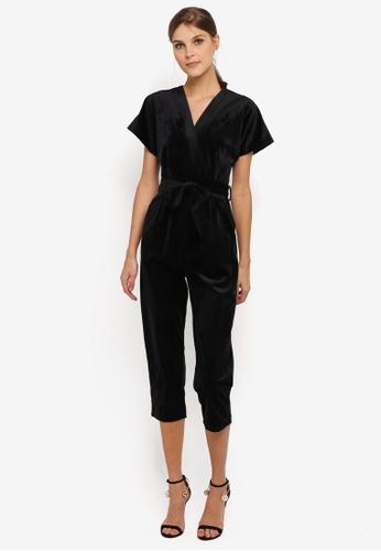 CLOSET black Wrap Over Tie Front Jumpsuit CL919AA0SIKYMY_1