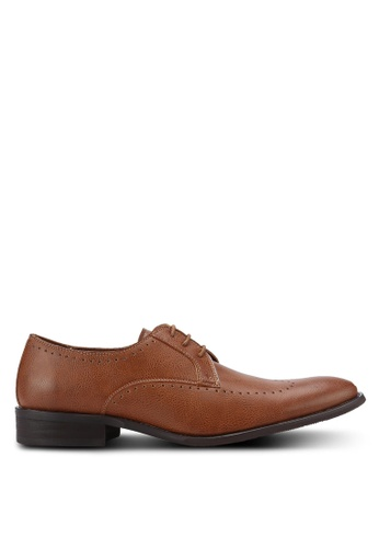 ZALORA brown Essential Faux Leather Wingtip Dress Shoes 1DDCBAA338DF96GS_1