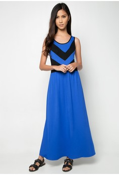 Royal Blue V-Pattern Maxi Dress