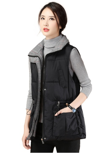 A-IN GIRLS black Simple Check Cotton Vest Jacket 2357CAA25E4D3AGS_1