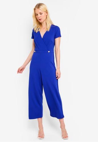 Dorothy Perkins 藍色 Cobalt Wrap 鈕釦連身褲 9BC72AA5E787B1GS_1