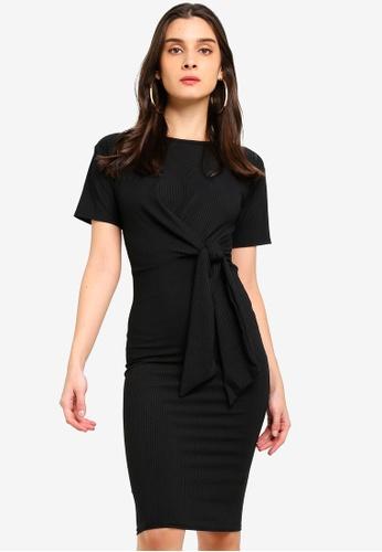 MISSGUIDED black Short Sleeve Ribbed Tie Belt Midi Dress 97638AAE28A64DGS_1