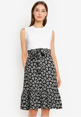 ZALORA WORK white Contrast Fabric Fluted Hem Dress 04630AA0DEB89EGS_1