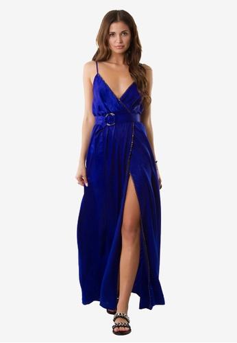 NOBASIC blue Zoey V Neck Dress NO444AA0FP69SG_1
