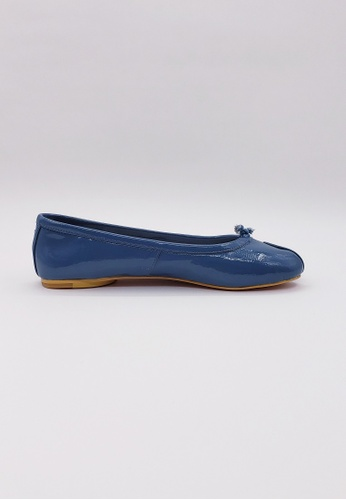 HERME MONY blue Japanese Two-Finger Style Patent Leather Flat Shoes C0905SH950DB7AGS_1