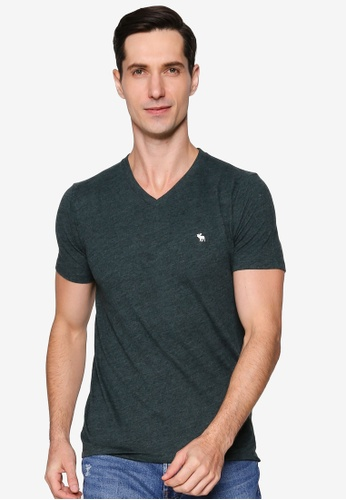 Abercrombie & Fitch green Short Sleeves Icon V-Neck Tee 4E166AA711453FGS_1