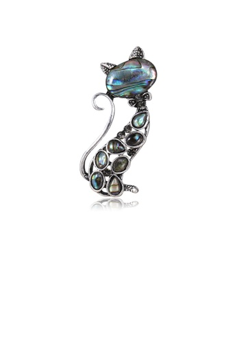 Glamorousky black Simple and Cute Cat Blue Shell Brooch with Cubic Zirconia 5C9A7AC0B07700GS_1