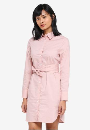Something Borrowed pink Waist Tie Shirt Dress F5F66AA94F6DD5GS_1
