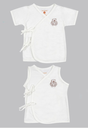 Tiny Tummies white Tiny Tummies Tie Side Sleeveless & Tie Side With Sleeves - Unisex D17CEKA6B7A16EGS_1