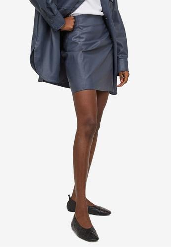 H&M blue Imitation Leather Skirt 64FD2AA09862A4GS_1