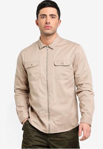 Brave Soul beige Zip Through Shirt ACFBEAAE6CC790GS_1