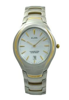 Image of ALBA Jam Tangan Pria - Silver Gold White - Stainless Steel - AVKC38