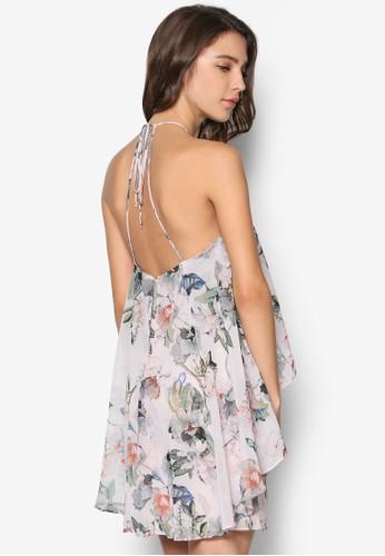 Printed Double zalora 內衣Layer Dress, 服飾, 洋裝