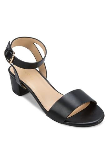 一字帶繞踝粗跟zalora開箱涼鞋, 女鞋, 鞋