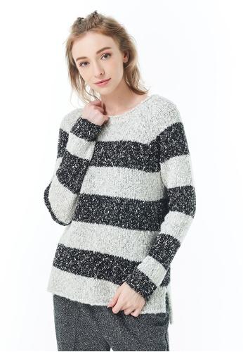 Sisley black Boat Neck Sweater 94B55AA69E9BA2GS_1
