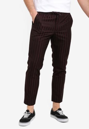 ab5c03749c2 Buy Topman Burgundy Pinstripe Pants Online | ZALORA Malaysia