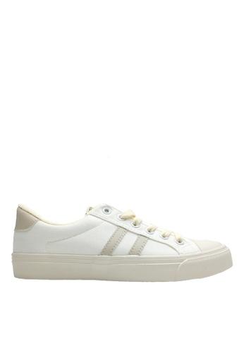 Twenty Eight Shoes 米褐色 帆布雙條紋休閒鞋 VCF183 291C8SHC88E9BEGS_1
