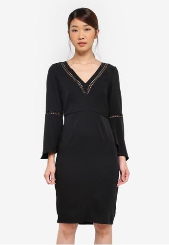 Paper Dolls black Lace Insert Flutted Sleeve Dress 91B5FAACC07F26GS_1