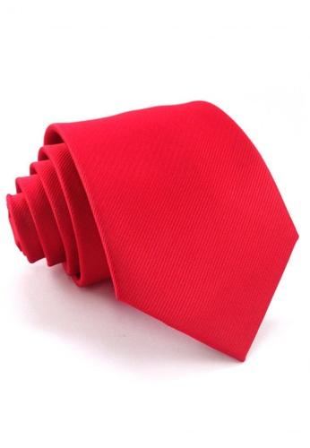 Tieline red Standard Microfiber Solid Textured Necktie TI886AC88UOLPH_1