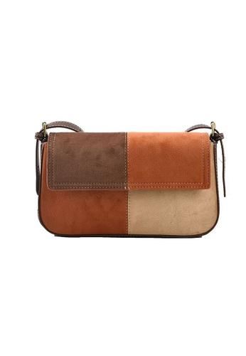 Lara brown Women's Retro Patchwork Flap Cross-body Bag - Light Brown 67848ACE39B449GS_1