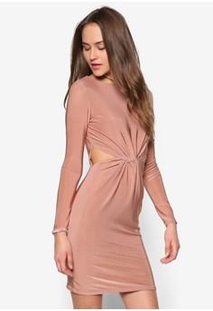 Slinky 3/4 Sleeve Knot Front Bodycon Dress Rose