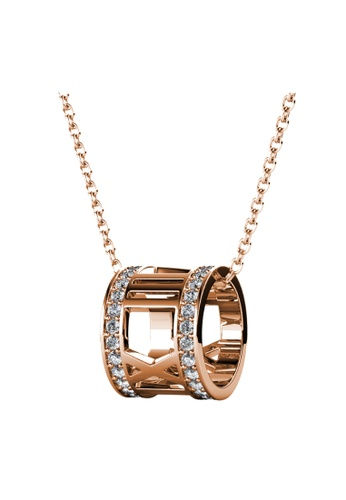 LOVE AND LIFE gold Love & Life Roman Roller Pendant with Necklace (Rose Gold Crystal) embellished with Crystals from Swarovski B3B5CACF041C5BGS_1