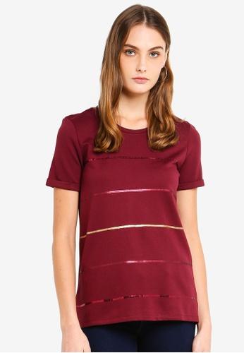 ESPRIT 紅色 亮片條紋T恤 B0346AA0009EF6GS_1