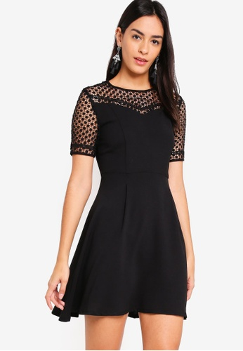 ZALORA black Lace Fit And Flare Dress 96BA9AA41C3382GS_1