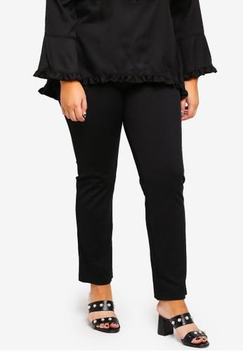Gene Martino black Plus Size Straight Cut Pants A226AAA1855555GS_1