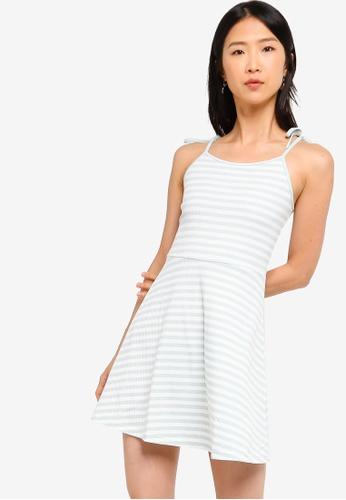 ZALORA BASICS white and multi Basic Rib Cami Dress 65947AA42841B7GS_1