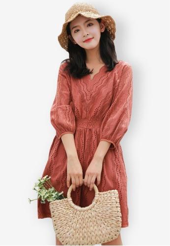 Sunnydaysweety orange Bubble Sleeve One Piece Dress DDDFEAA0557FC8GS_1