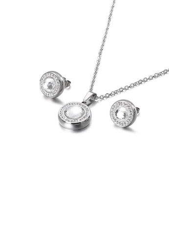 Glamorousky white Fashion Simple Geometric Round 316L Stainless Steel Necklace and Stud Earring Set with White Cubic Zirconia 25AFEAC76A35D6GS_1