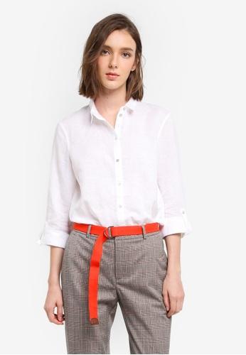 ESPRIT white Woven Long Sleeve Shirt 5BB88AA9A44D90GS_1
