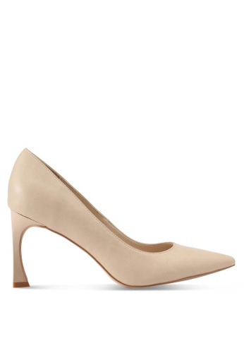 ZALORA 米褐色 尖頭弧形鞋根高跟鞋 B4E26SHA628AABGS_1