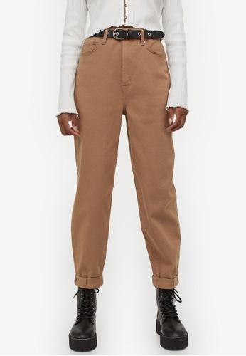 H&M brown Hi-Waist Mom Twill Trousers 1B667AA1D51A19GS_1